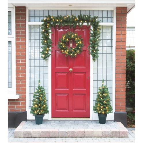 Christmas Door.Festive Pre Lit Christmas Door Decoration Set 4 Piece