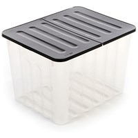 Strata  Supa Nova 48 Litre Storage Box with Black Lid - Clear