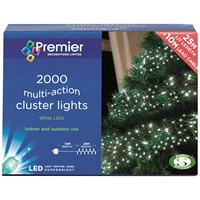 Premier Decorations  2000 LED Multi Action Cluster Lights - White