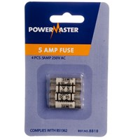 Powermaster  4 Pack Plug Top Fuses - 5 Amp